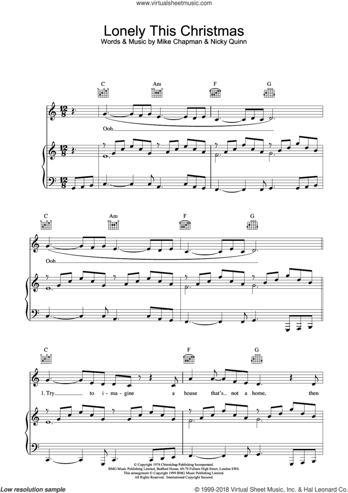 Lonely This Christmas sheet music for voice, piano or guitar by Mike Chapman, Mud and Nicky Quinn, intermediate skill level