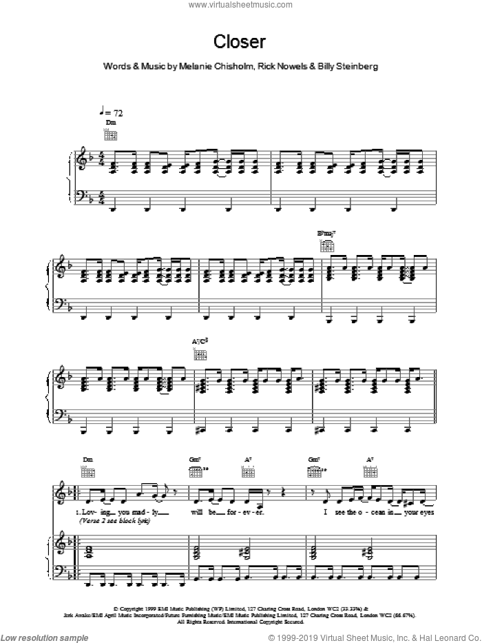 Closer sheet music for voice, piano or guitar by Chisholm Melanie, intermediate skill level
