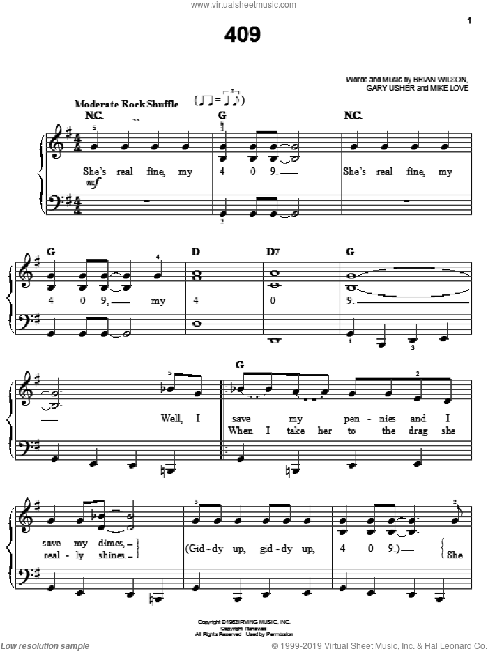 409 sheet music for piano solo by The Beach Boys, Brian Wilson, Gary Usher and Mike Love, easy skill level