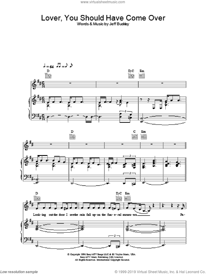 Lover, You Should Have Come Over sheet music for voice, piano or guitar by Jamie Cullum, intermediate skill level