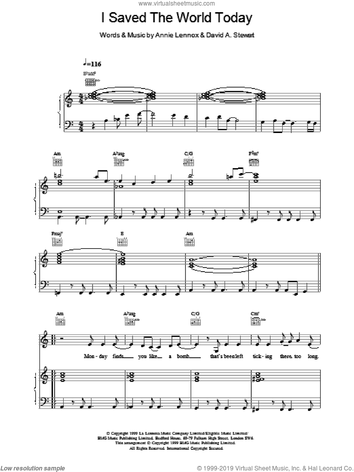 I Saved The World Today sheet music for voice, piano or guitar by Eurythmics, intermediate skill level