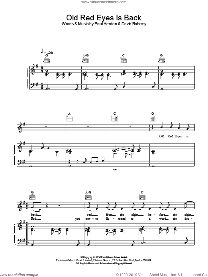 Old Red Eyes Is Back sheet music for voice, piano or guitar by The Beautiful South, intermediate skill level