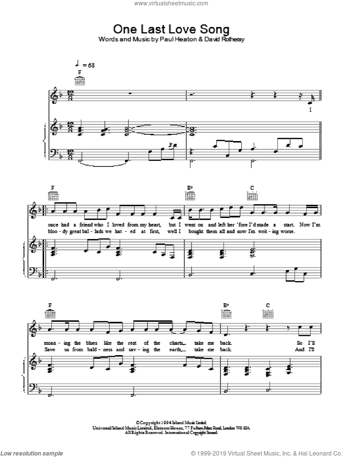 One Last Love Song sheet music for voice, piano or guitar by The Beautiful South, intermediate skill level