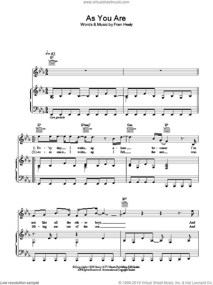 As You Are sheet music for voice, piano or guitar by Merle Travis, intermediate skill level