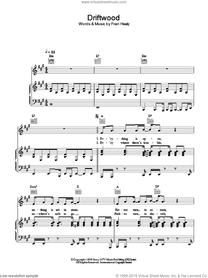 Driftwood sheet music for voice, piano or guitar by Merle Travis, intermediate skill level