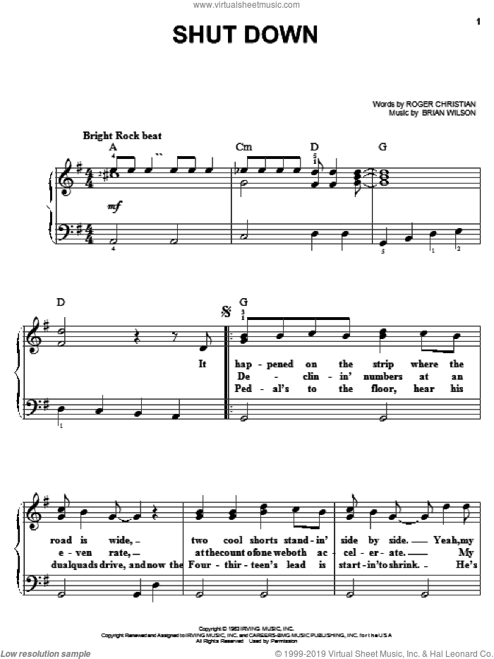 Shut Down sheet music for piano solo by The Beach Boys, Brian Wilson and Roger Christian, easy skill level