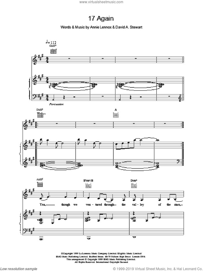 17 Again sheet music for voice, piano or guitar by Eurythmics, intermediate skill level