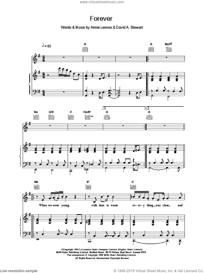 Forever sheet music for voice, piano or guitar by Eurythmics, intermediate skill level