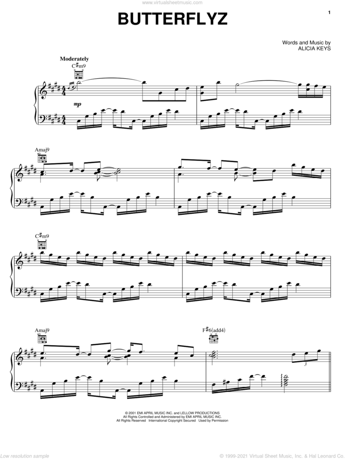 Butterflyz sheet music for voice, piano or guitar by Alicia Keys, intermediate skill level