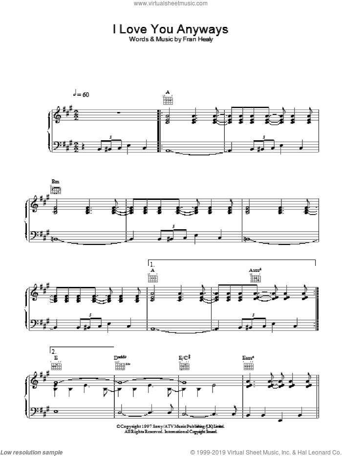 I Love You Anyways sheet music for voice, piano or guitar by Merle Travis, intermediate skill level