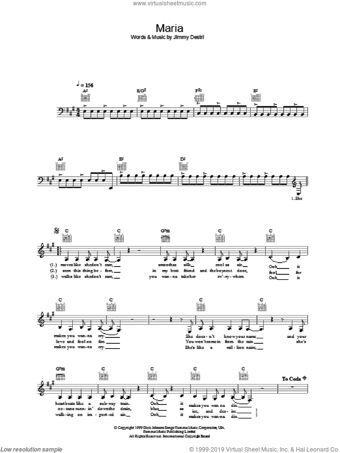 Maria sheet music for voice and other instruments (fake book) by Blondie, intermediate skill level