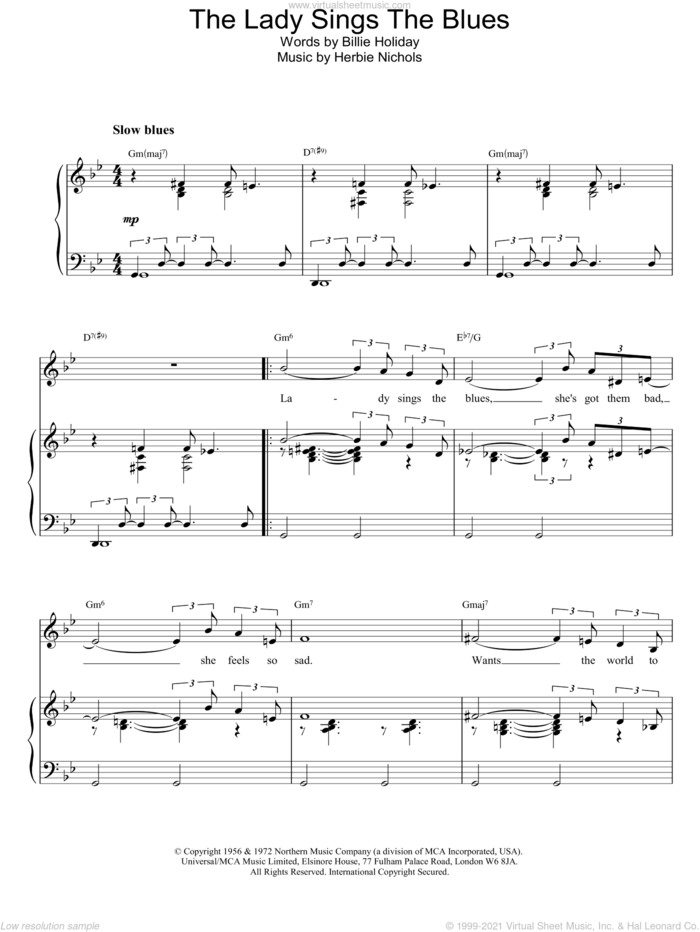 The Lady Sings The Blues sheet music for voice, piano or guitar by Billie Holiday, intermediate skill level