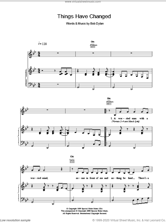Things Have Changed sheet music for voice, piano or guitar by Bob Dylan, intermediate skill level