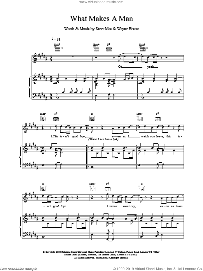 What Makes A Man sheet music for voice, piano or guitar by Westlife, intermediate skill level