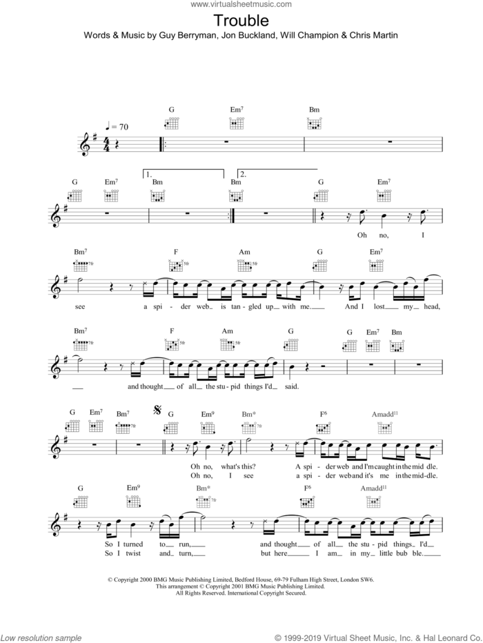 Trouble sheet music for voice and other instruments (fake book) by Coldplay, intermediate skill level