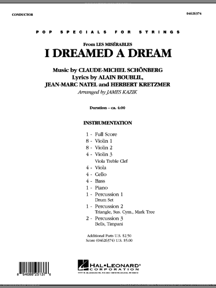 I Dreamed a Dream (from 'Les Miserables') (COMPLETE) sheet music for orchestra by James Kazik, intermediate skill level