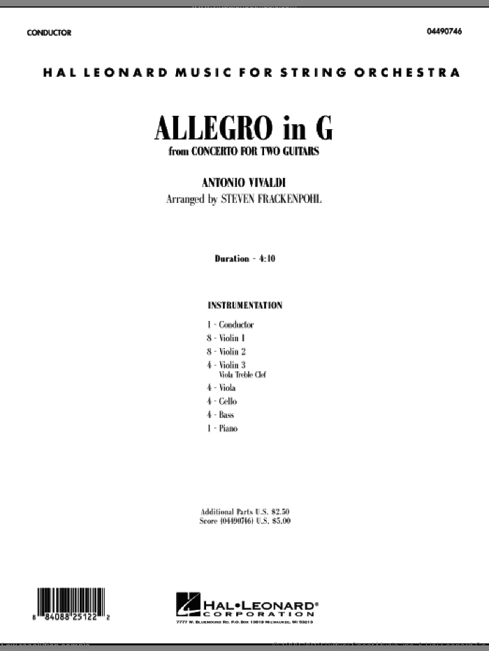 Allegro in G (COMPLETE) sheet music for orchestra by Antonio Vivaldi and Steve Frackenpohl, classical score, intermediate skill level