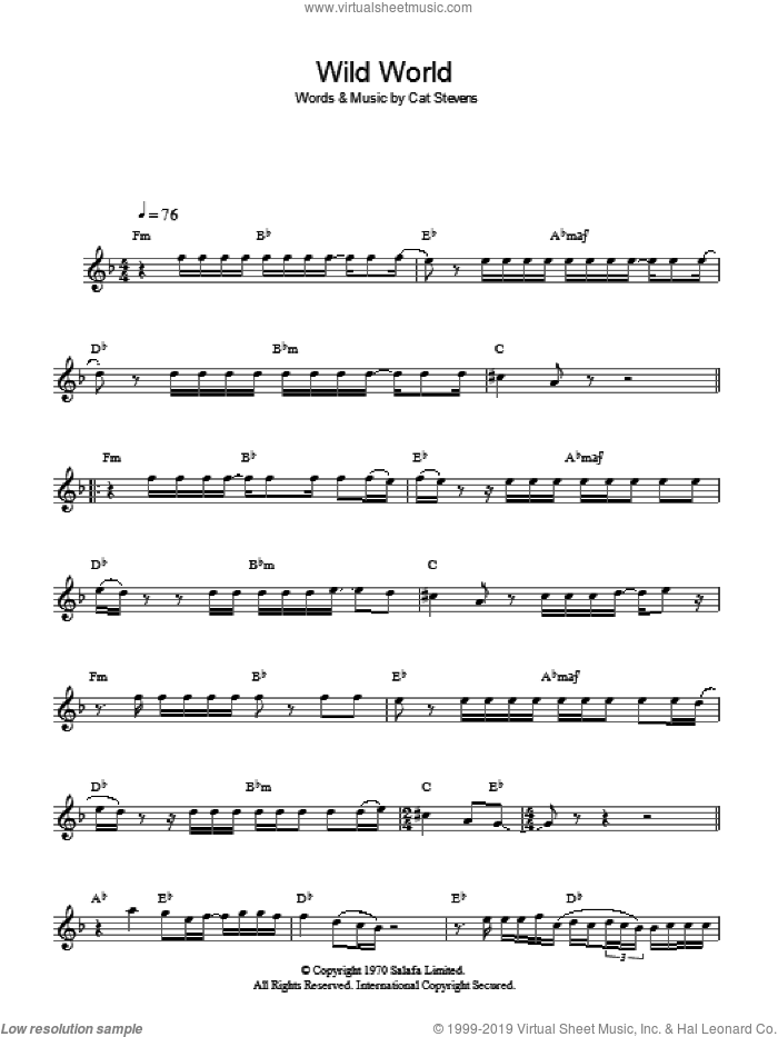 Wild World sheet music for voice and other instruments (fake book) by Cat Stevens, intermediate skill level