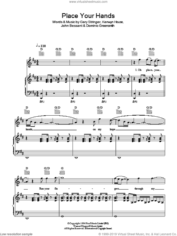 Place Your Hands sheet music for voice, piano or guitar by Reef, Dominic Greensmith, Gary Stringer, John Bessant and Kenwyn House, intermediate skill level