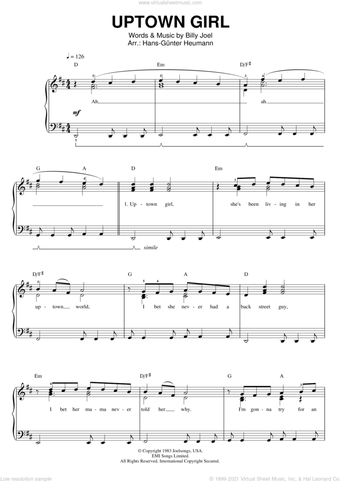 Uptown Girl sheet music for voice and piano by Billy Joel, intermediate skill level