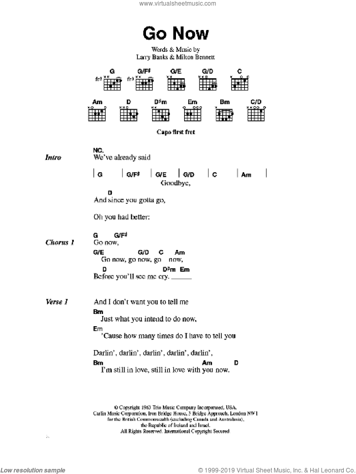 Go Now sheet music for guitar (chords) by The Moody Blues, Larry Banks and Milton Bennett, intermediate skill level