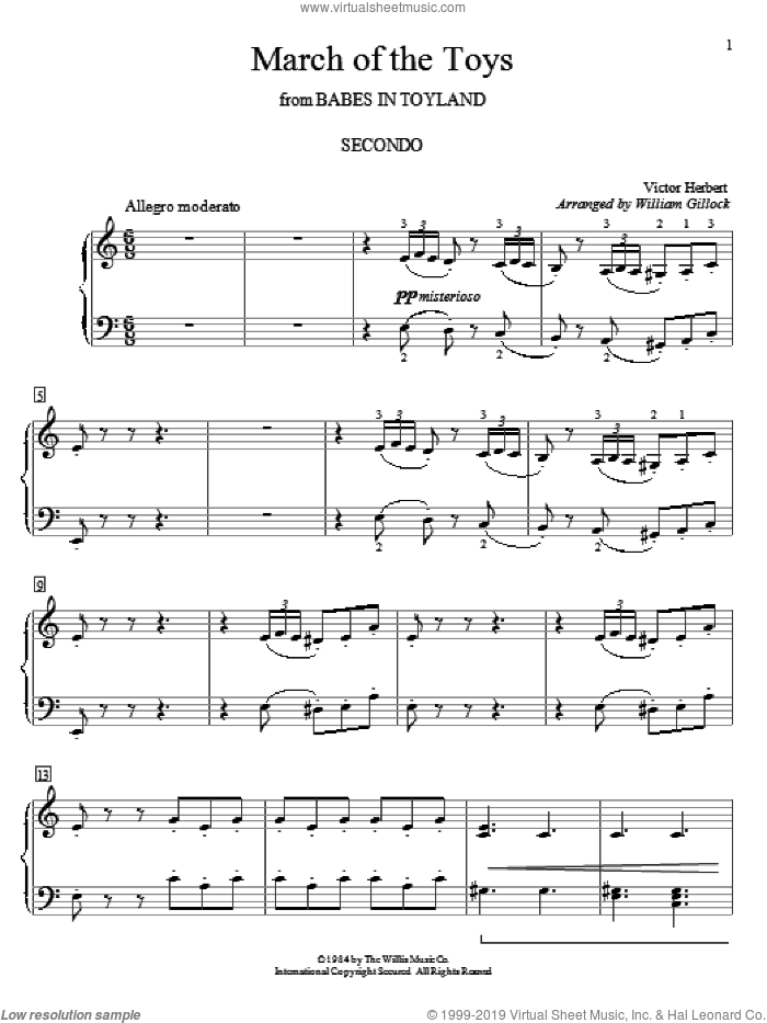 March Of The Toys sheet music for piano four hands by Victor Herbert and William Gillock, intermediate skill level