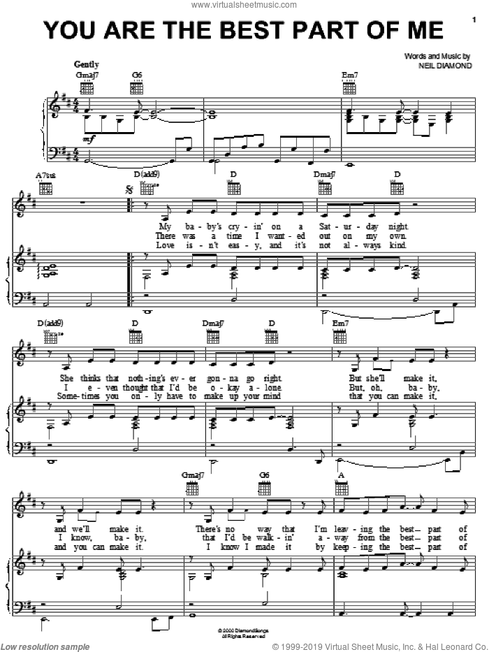 You Are The Best Part Of Me sheet music for voice, piano or guitar by Neil Diamond, intermediate skill level