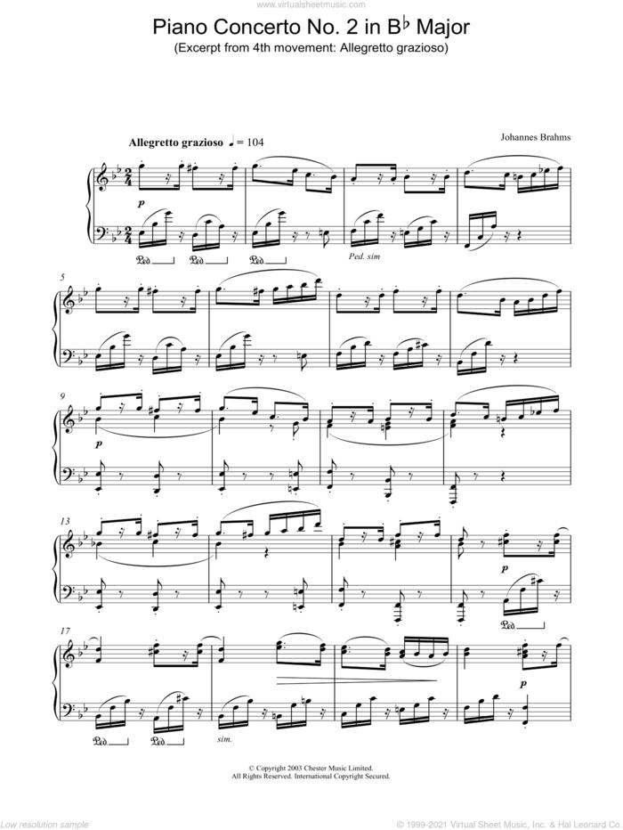 Piano Concerto No. 2 in Bb Major (Excerpt from 4th movement: Allegretto grazioso) sheet music for piano solo by Johannes Brahms, classical score, intermediate skill level