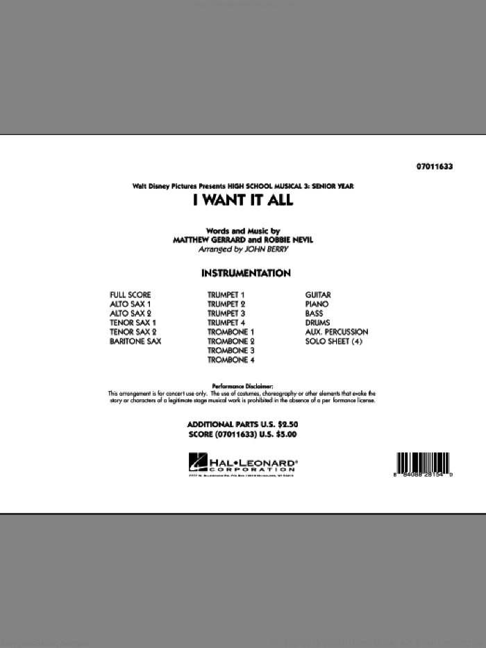 I Want It All (from 'High School Musical 3') (COMPLETE) sheet music for jazz band by Matthew Gerrard, Robbie Nevil and John Berry, intermediate skill level