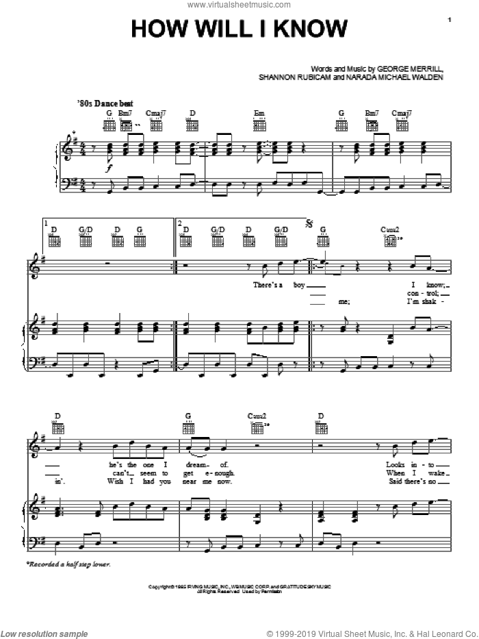 How Will I Know sheet music for voice, piano or guitar by Whitney Houston, George Merrill, Narada Michael Walden and Shannon Rubicam, intermediate skill level