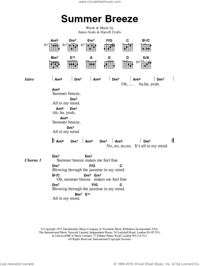 Summer Breeze sheet music for guitar (chords) by The Isley Brothers, Darrell Crofts and James Seals, intermediate skill level