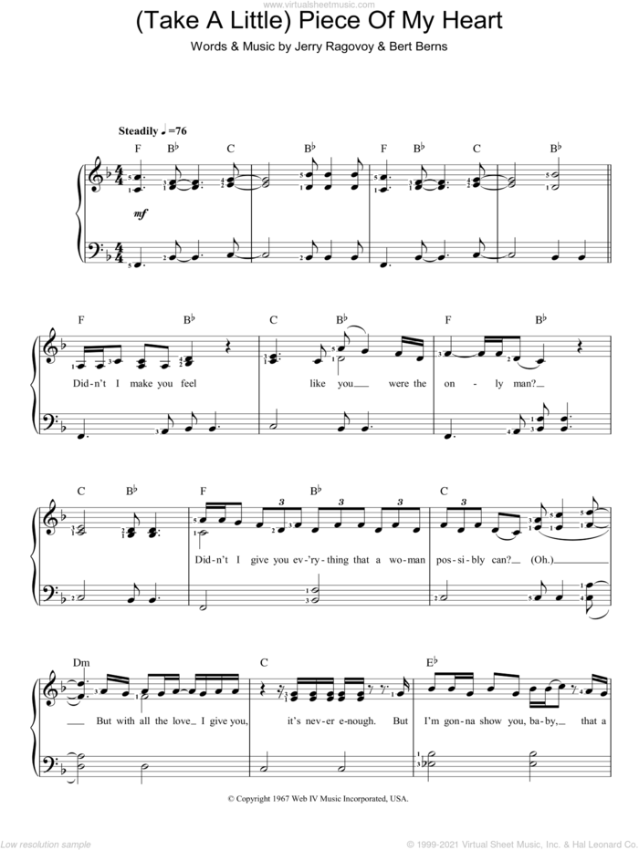 (Take A Little) Piece Of My Heart sheet music for piano solo by Erma Franklin, Bert Berns and Jerry Ragovoy, easy skill level