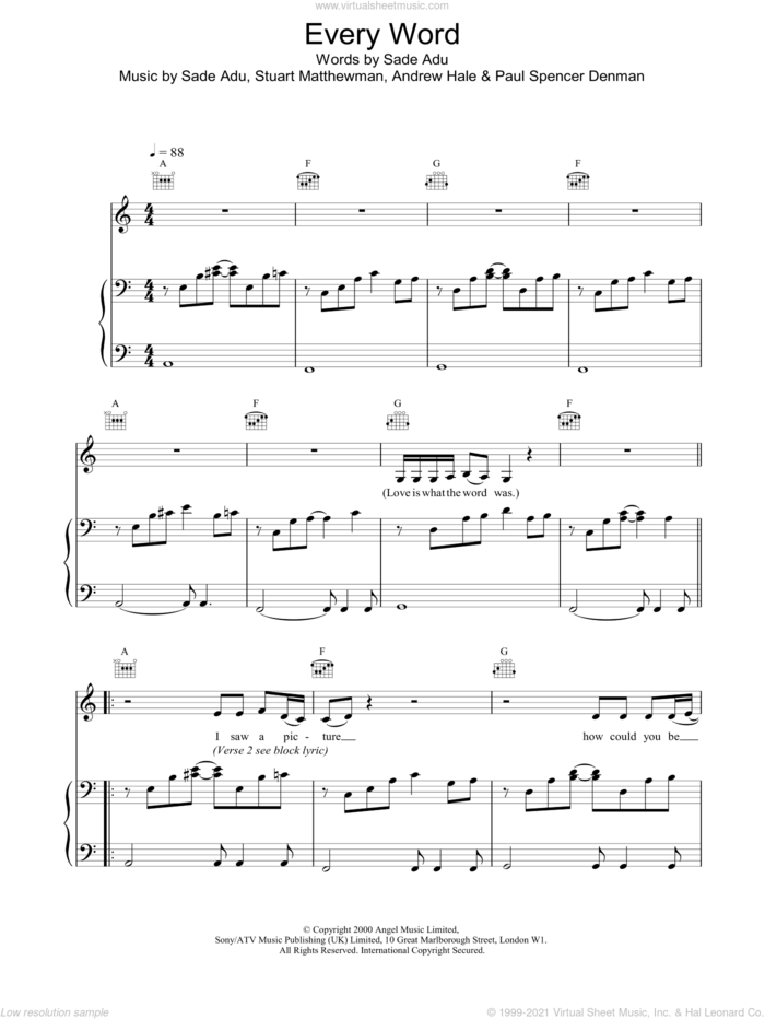 Every Word sheet music for voice, piano or guitar by Sade, intermediate skill level