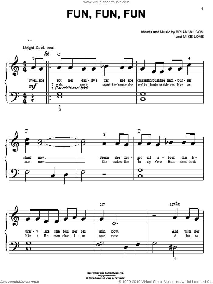 Fun, Fun, Fun sheet music for piano solo (big note book) by The Beach Boys, Brian Wilson and Mike Love, easy piano (big note book)