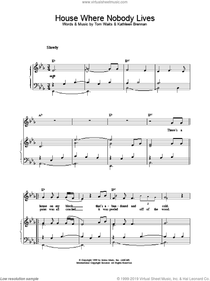 House Where Nobody Lives sheet music for voice, piano or guitar by Tom Waits, intermediate skill level