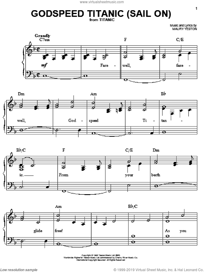 Godspeed Titanic (Sail On) sheet music for piano solo by Maury Yeston, easy skill level