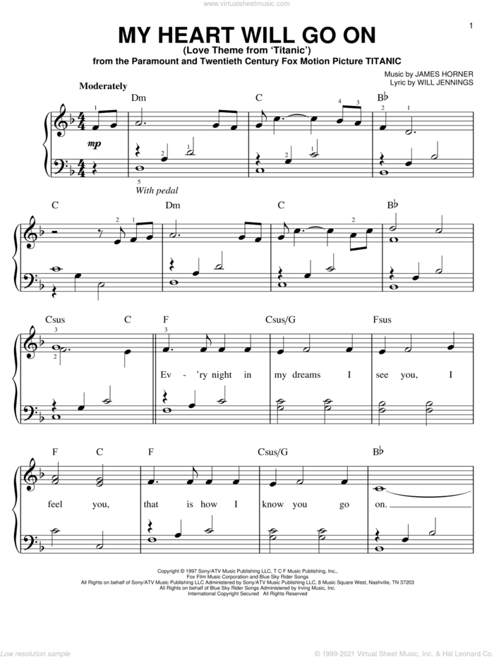 My Heart Will Go On (Love Theme from Titanic), (easy) sheet music for piano solo by Celine Dion, James Horner and Will Jennings, wedding score, easy skill level