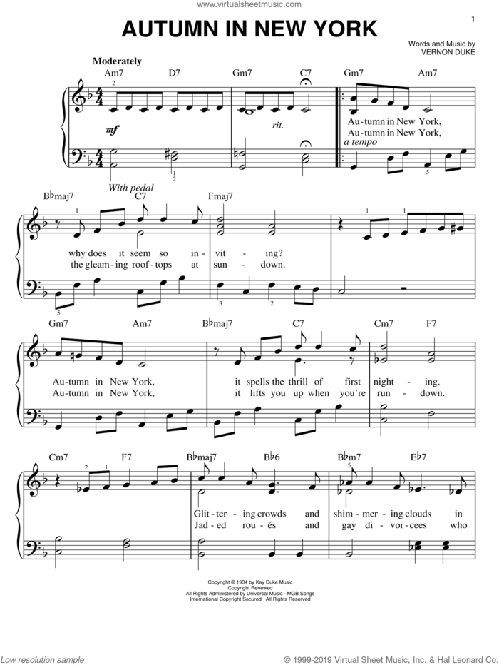 Autumn In New York sheet music for piano solo by Frank Sinatra, Bud Powell, Jo Stafford and Vernon Duke, easy skill level