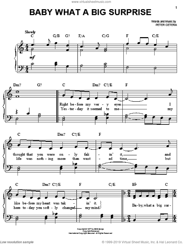 Baby What A Big Surprise sheet music for piano solo by Chicago and Peter Cetera, easy skill level