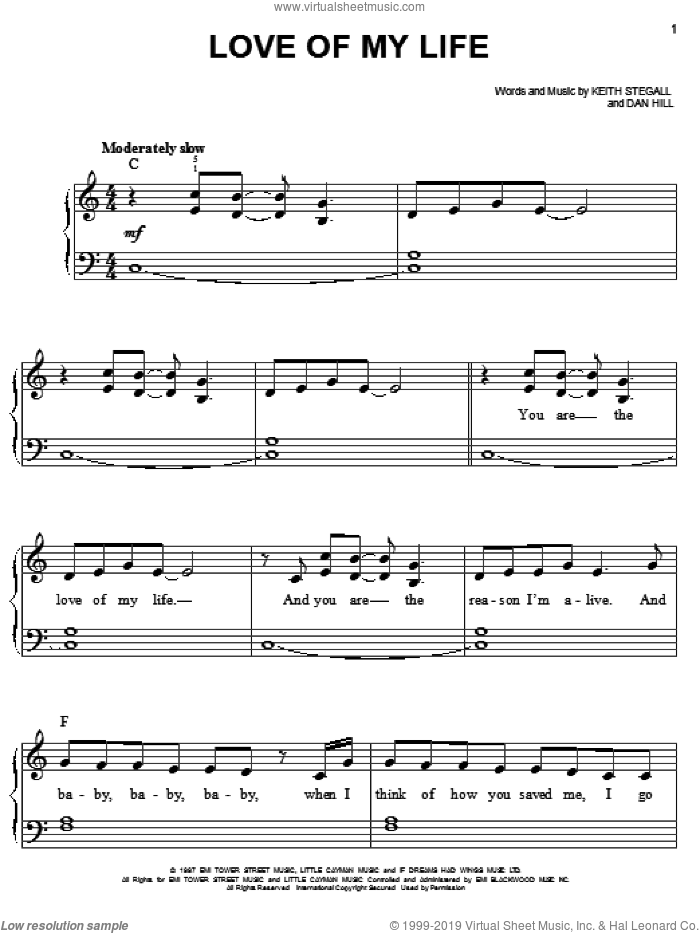 Love Of My Life sheet music for piano solo by Sammy Kershaw, Dan Hill and Keith Stegall, wedding score, easy skill level