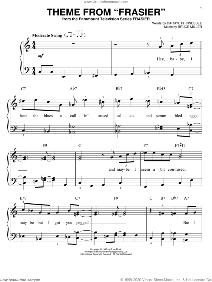 Theme From 'Frasier' sheet music for piano solo by Bruce Miller and Darryl Phinnessee, easy skill level
