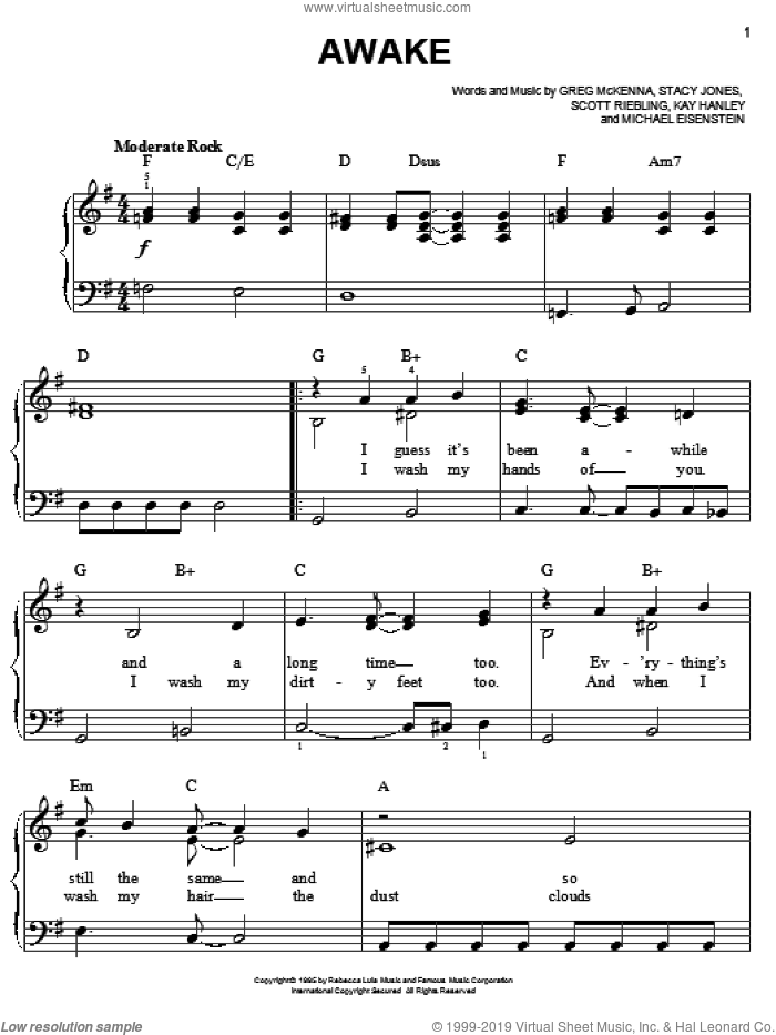 Awake sheet music for piano solo by Letters To Cleo, Greg McKenna, Kay Hanley, Michael Eisenstein, Scott Riebling and Stacy Jones, easy skill level