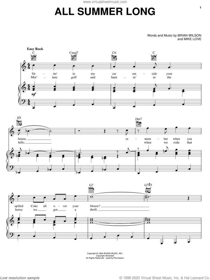 All Summer Long sheet music for voice, piano or guitar by The Beach Boys, Brian Wilson and Mike Love, intermediate skill level