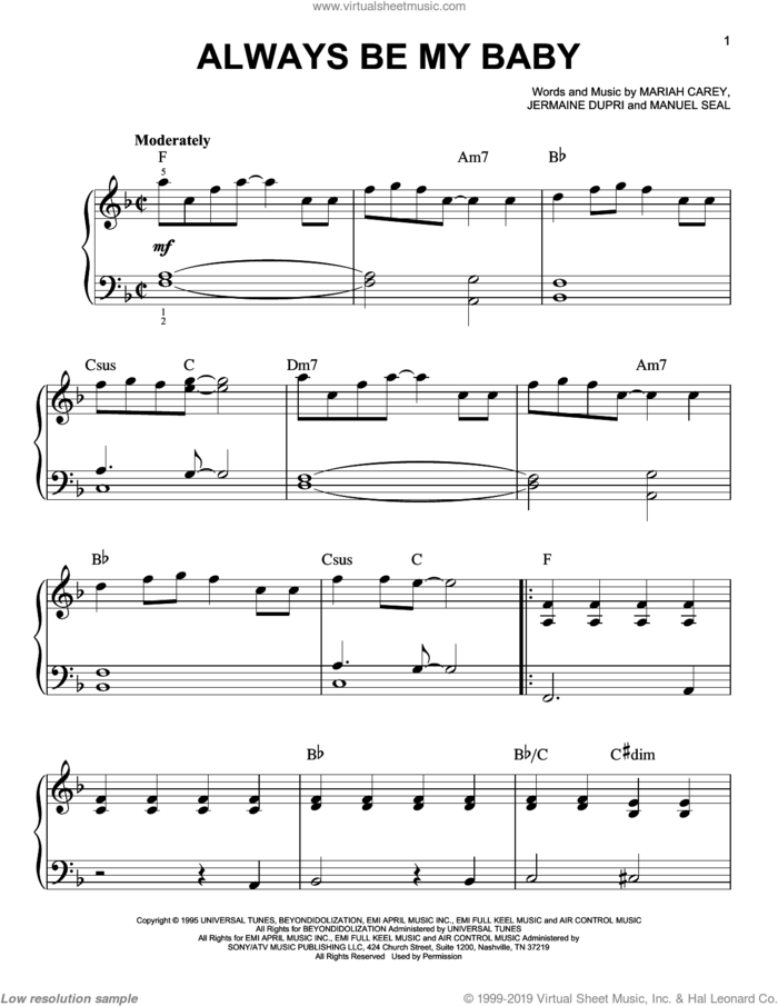 Always Be My Baby sheet music for piano solo by Mariah Carey, Jermaine Dupri and Manuel Seal, wedding score, easy skill level