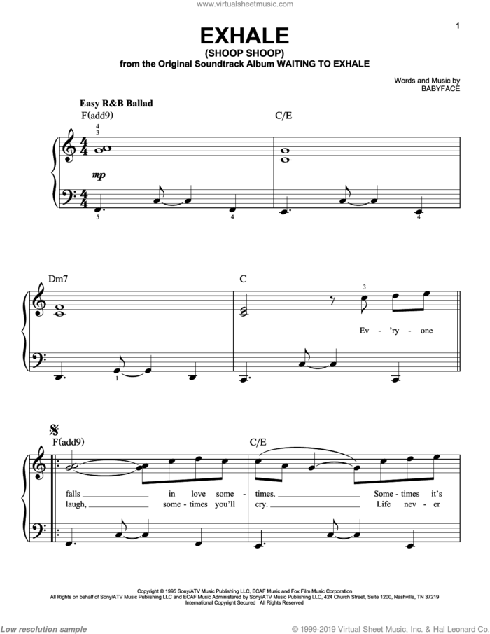 Exhale (Shoop Shoop) sheet music for piano solo by Whitney Houston and Babyface, easy skill level