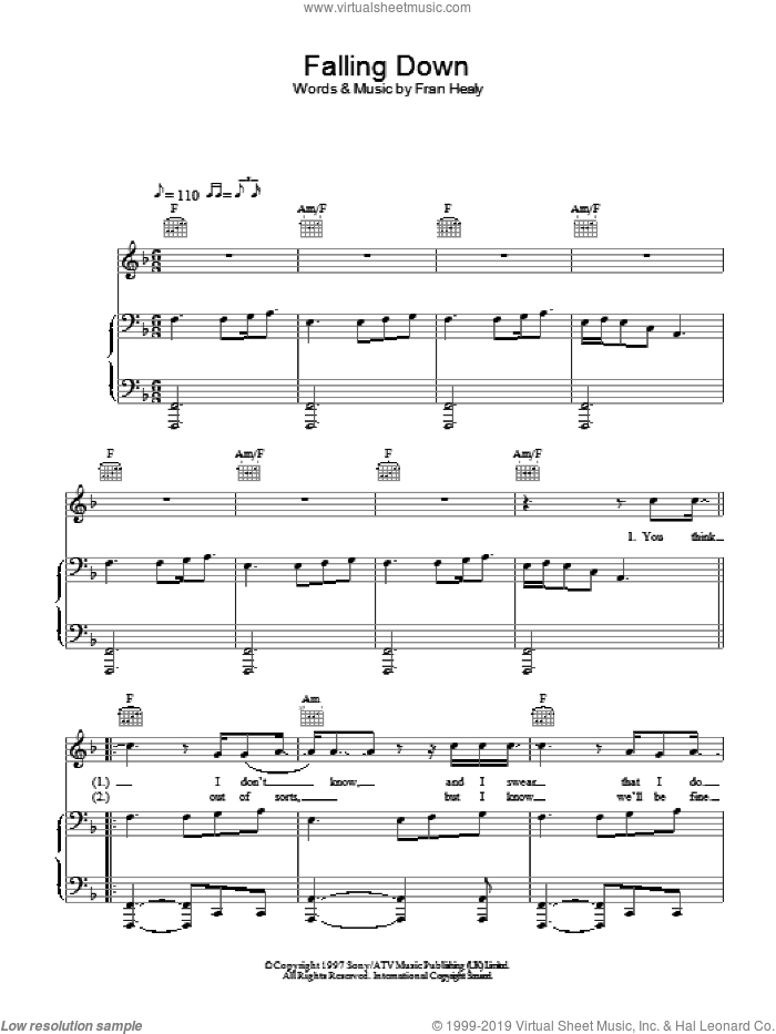 Falling Down sheet music for voice, piano or guitar by Merle Travis, intermediate skill level