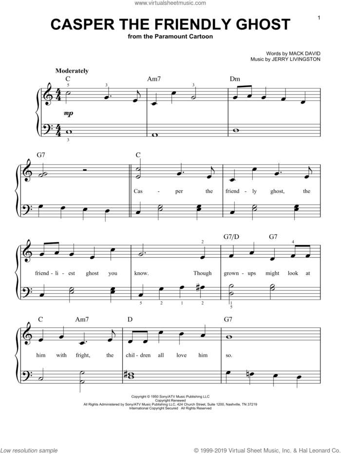 Casper The Friendly Ghost sheet music for piano solo by Jerry Livingston and Mack David, easy skill level