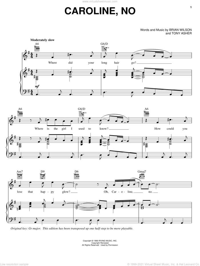 Caroline, No sheet music for voice, piano or guitar by The Beach Boys, Brian Wilson and Tony Asher, intermediate skill level