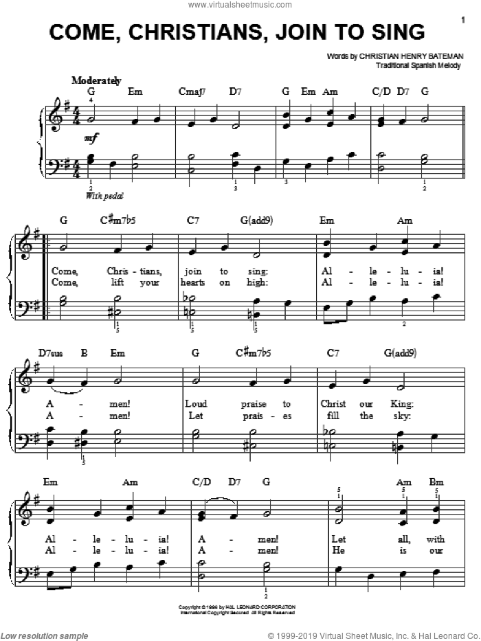 Come, Christians, Join To Sing, (easy) sheet music for piano solo by Christian Henry Bateman and Miscellaneous, easy skill level