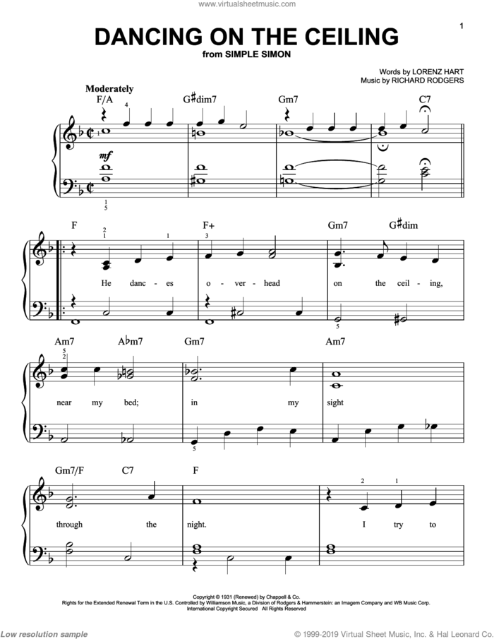 Dancing On The Ceiling, (easy) sheet music for piano solo by Rodgers & Hart, Lorenz Hart and Richard Rodgers, easy skill level